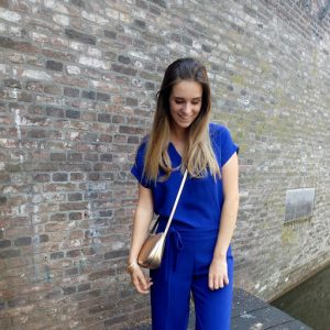 trouwblog van Eva blauwe jumpsuit