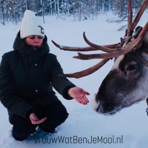Tocht met rendieren in Lapland Angeliek en rendier